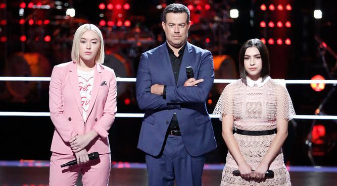 Chloe Kohanski and Ilianna Viramontes await the outcome of their battle round match on The Voice. (NBC Photo)