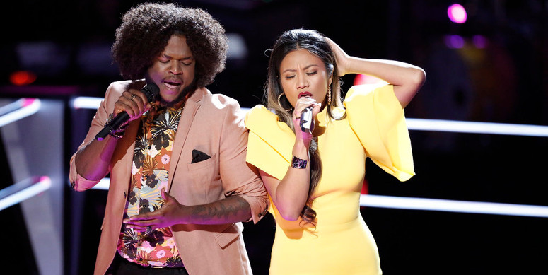 "Davon Fleming and Maharasyi perform ""I'm Your Baby Tonight"" during the battle round on The Voice. (NBC Photo)"