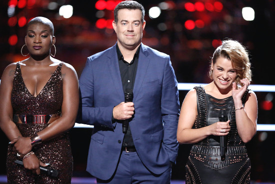 Janice Freeman and Katrina Rose with Carson Daly following the battle they both survived on The Voice Season 13. (NBC Photo)
