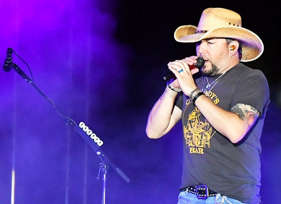 Jason Aldean performs at the Route 91 festival in Las Vegas.