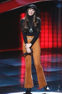 Kristi Hoopes listens to the coaches' feedback during the blind auditions on The Voice. (NBC Photo)