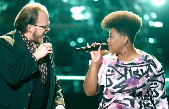 Lucas Holliday and Meagan McNeal perform during the battle round on The Voice  (NBC Photo)