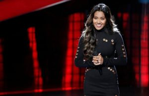 """Maharasyi listens to feedback from the coaches following her blind audition performance of """"Tell Me Something Good"""" on The Voice."""
