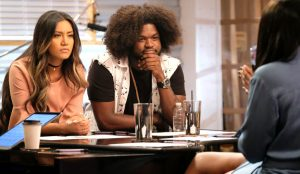 Maharasyi and Davon Fleming rehearse with Jennifer Hudson during the battle round on The Voice. (NBC Photo)