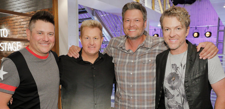The members of Rascal Flatts will assist Team Blake Shelton during the battle round on The Voice. Pictured with Blake are (from left)   Jay DeMarcus, Gary LeVox and Joe Don Rooney. (NBC Photo)
