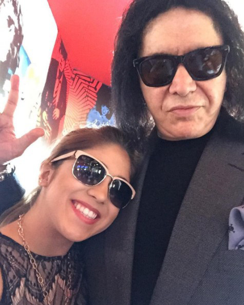 Sophia Bollman of The Voice Season 13 poses for a photo with Gene Simmons