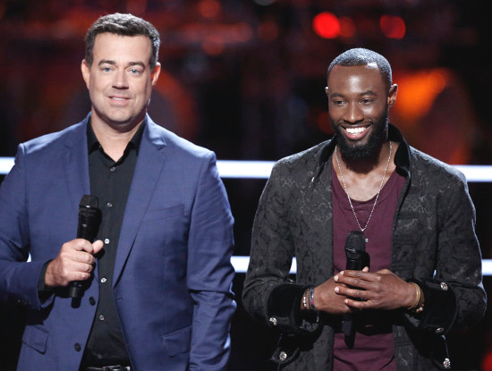 Stephan Marcellus reacts to being stolen on The Voice Season 13. (NBC Photo)