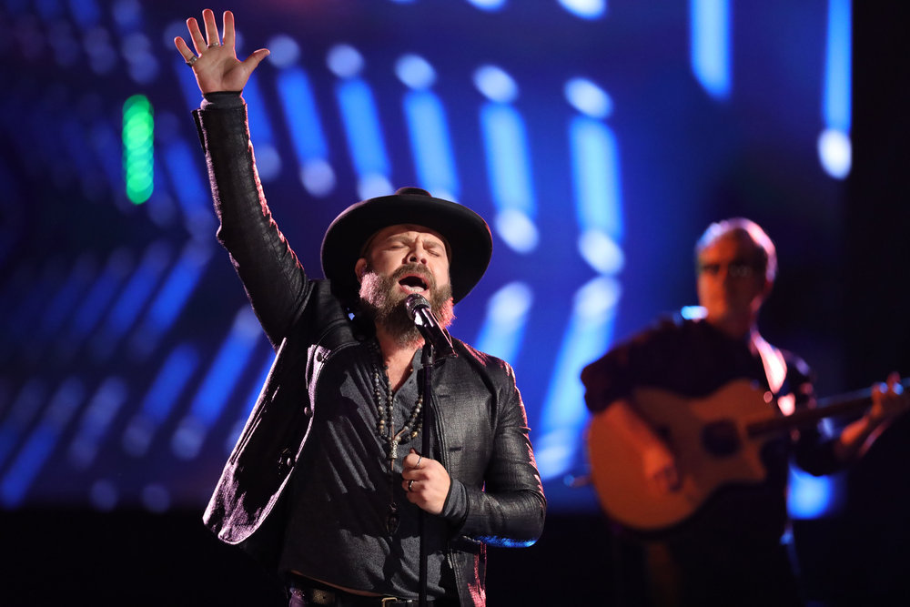 """Adam Cunningham sings """"Against All Odds"""" on The Voice. (NBC Photo)"""