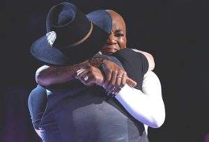 Adam Cunningham and Janice Freeman embrace Tuesday night after the save results come in on The Voice. (NBC Photo)