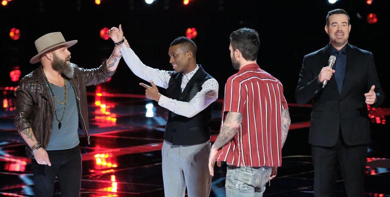 Jon Mero congratulates Adam Cunningham on winning the Twitter save Tuesday on The Voice. (NBC Photo)