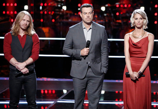 Adam Pearce and Emily Luther listen to feedback on their knockout round performance on The Voice. (NBC Photo)