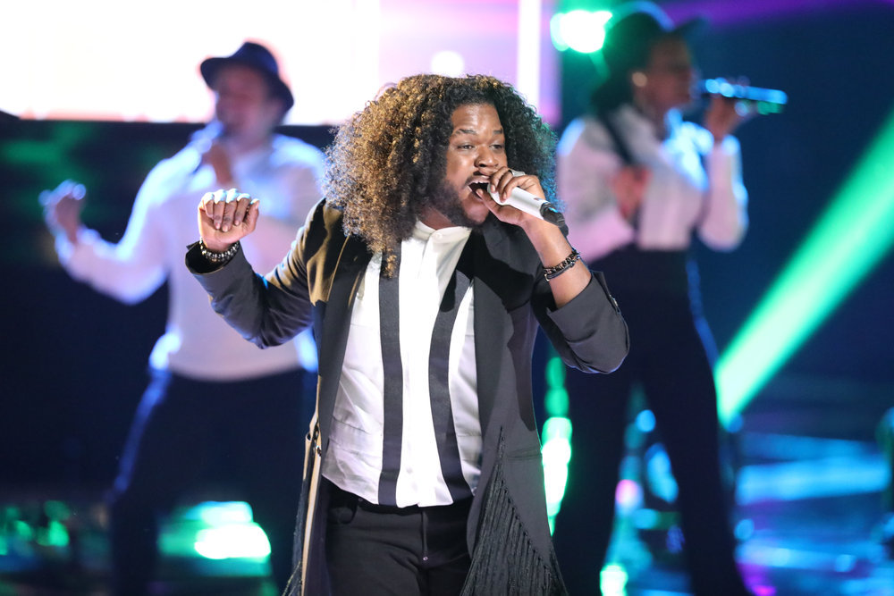 """Davon Fleming performs """"Love on Top"""" on The Voice.. (NBC Photo)"""