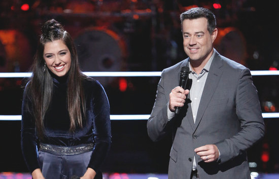 Hannah Mrozak reacts to a steal on Tuesday's episode of The Voice. (NBC Photo)