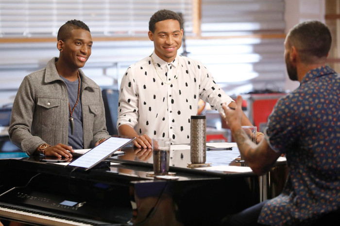 Jon Mero and Brandon Brown prepare for their battle round match on The Voice. (NBC Photo)