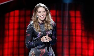 Karli Webster listens to feedback following her blind audition on Season 13 of The Voice. (NBC Photo)