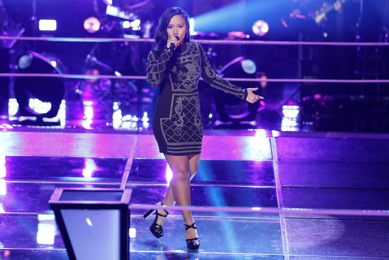 Kathrina Feigh performs during the battle round on The Voice (NBC Photo)