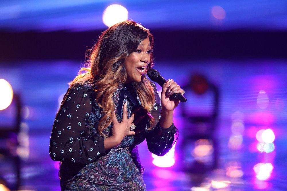 "Keisha Renee sings ""Midnight Train to Georgia"" on The Voice. (NBC Photo)"
