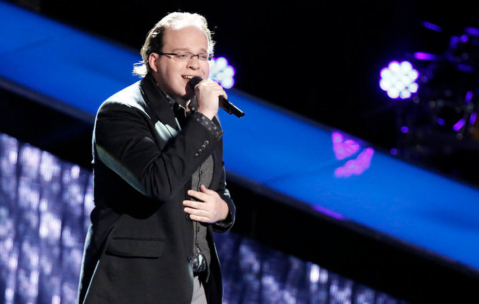 Lucas Holliday during his blind audition on The Voice.