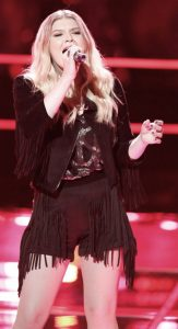 Megan Rose performs during the knockout round on The Voice. (NBC Photo)