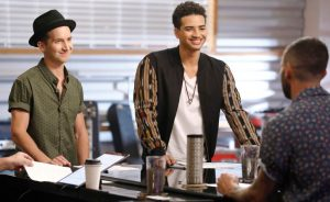 Michael Kight and Anthony Alexander prepare for the battle round with Adam Levine. (NBC Photo)