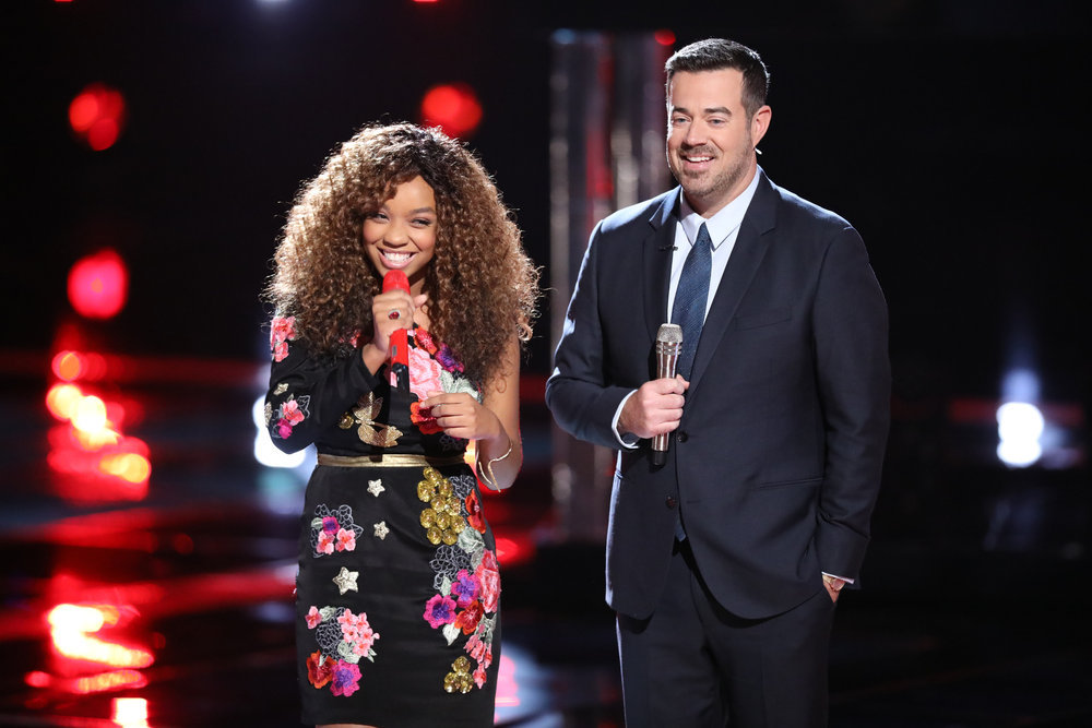 Shi'Ann Jones with Carson Daly as she gets feedback from the coaches on The Voice. (NBC Photo)