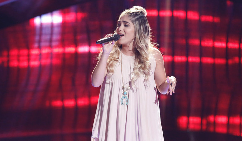 Sophia Bollman performs during the blind auditions on The Voice. (NBC Photo)