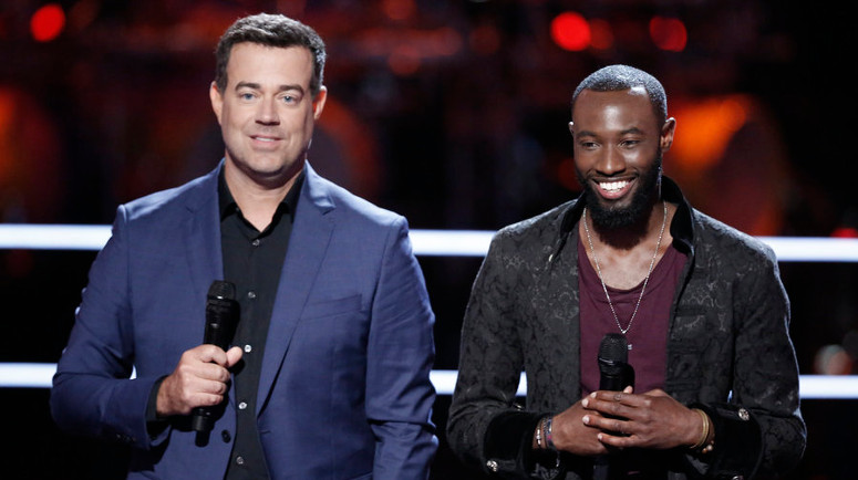 Stephan Marcellus after the battle round, when he was stolen by Miley Cyrus. (NBC Photo)