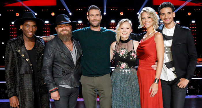 Members of Team Adam Levine in the playoffs include Jon Mero, Adam Cunningham, Addison Agen, Emily Luther and Anthony Alexander (NBC Photo)