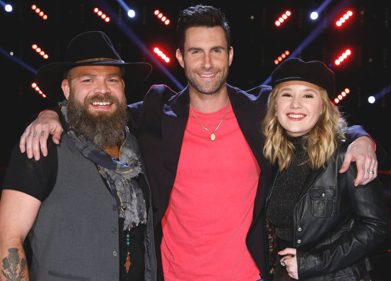 Adam Levine poses with team members Adam Cunningham and Addison Agen after Tuesday's episode of The Voice. (NBC Photo)
