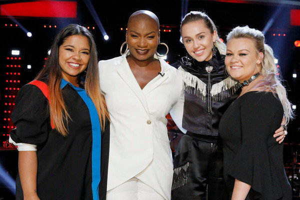 Miley Cyrus will take Brooke Simpson, Janice Freeman and Ashland Craft into the finals on Season 13 of The Voice. (NBC Photo)