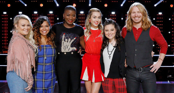Members of Team Miley Cyrus in the playoffs include Ashland Craft, Brooke Simpson, Janice Freeman, Moriah Formica and Adam Pearce. (NBC Photo)
