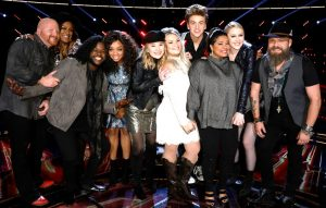 The Voice Top 10 includes (from left) Red Marlow, Keisha Renee, Davon Fleming, Shi'Ann Jones, Addison Agen, Ashland Craft, Noah Mac, Brooke Simpson, Chloe Kohanski and Adam Cunningham. (NBC Photo)
