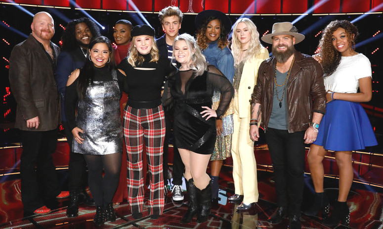 The Top 11 on The Voice include (front from left) Brooke Simpson, Addison Agen and Ashland Craft; (back from left) Red Marlow, Davon Fleming, Janice Freeman, Noah Mac, Keisha Renee, Chloe Kohanski, Adam Cunningham and Shi'Ann Jones. (NBC Photo)