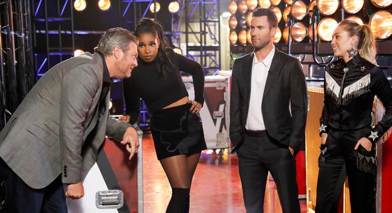 Voice coaches Blake Shelton, Jennifer Hudson, Adam Levine and Miley Cyrus backstage. (NBC Photo)