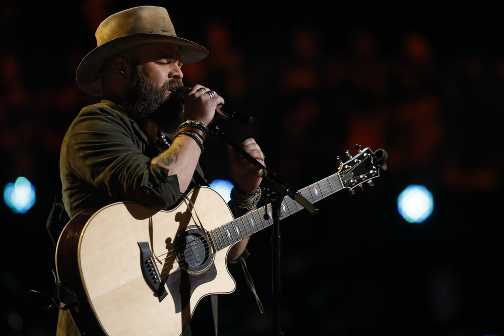 Adam Cunningham performs his save song Tuesday on The Voice. (NBC Photo)