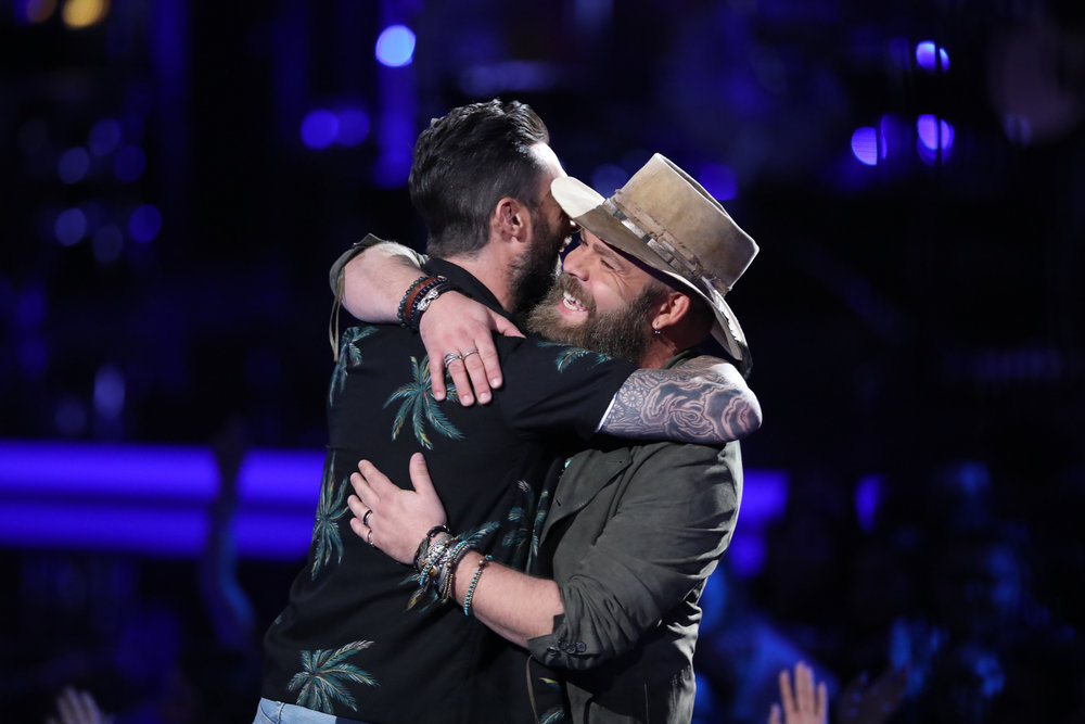 Adam Cunningham is congratulated on his run on The Voice by coach Adam Levine. (NBC Photo)