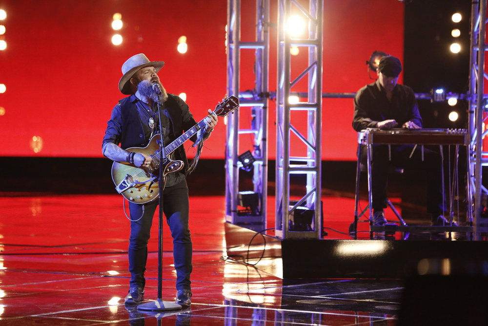 """Adam Cunningham sings """"Maybe It Was Memphis"""" on The Voice Top 10 show Monday night. (NBC Photo)"""