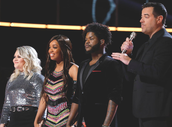 Ashland Craft, Shi'Ann Jones, Davon Fleming with Carson Daly at the end of Tuesday's results show on The Vocie. (NBC Photo)