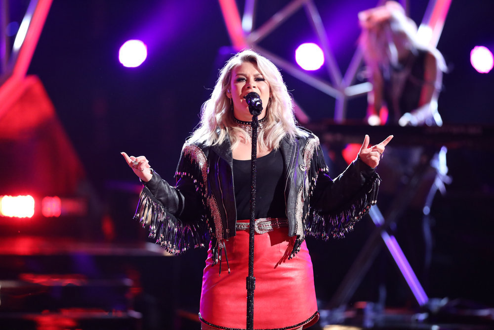 on The Voice Top 10 show Monday night. (NBC Photo)</strong>