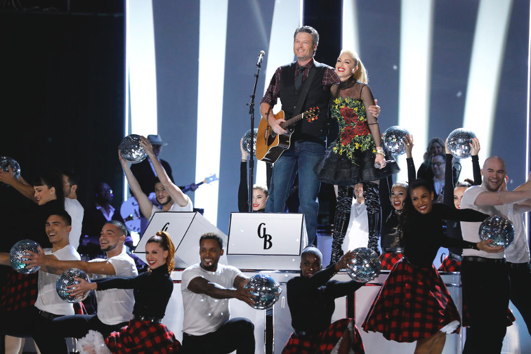 Blake Shelton and Gwen Stefani after their performance on The Voice Monday night. (NBC Photo)