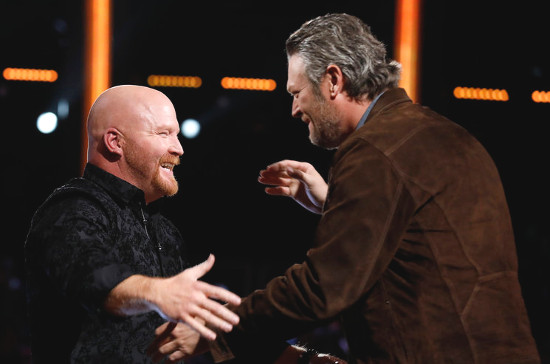 Blake Shelton congratulates Red Marlow after he advances on The Voice. (NBC Photo)