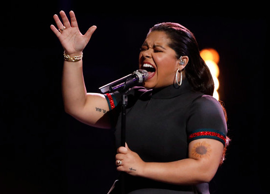 Brooke Simpson during her show-closing performance of Faithfully Monday night on The Voice.