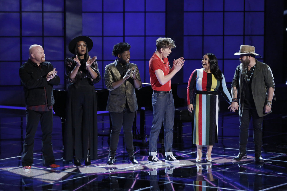 Brooke Simpson receives congratulations on making the Season 13 Voice finals. (NBC Photo)