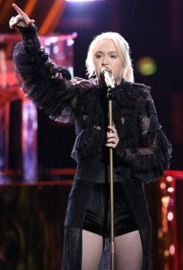 "Chloe Kohanski during her signature performance on The Voice, covering ""Total Eclipse of the Heart"" (NBC Photo)"