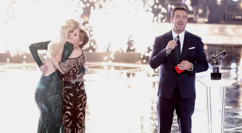 Chloe Kohanski receives congratulations from Addison Agen as the post-show victory celebration begins on The Voice. (NBC Photo)