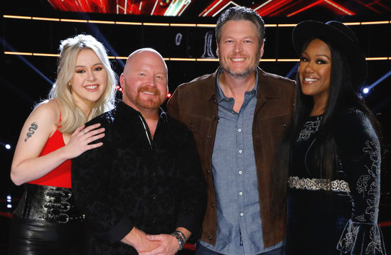 Chloe Kohanski, Red Marlow and, Keisha Renee of Team Blake are among the social media leaders on The Voice. (NBC Photo)