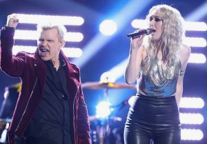 "Chloe Kohanski performs ""White Wedding"" with Billy Idol. (NBC Photo)"