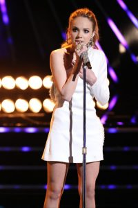 "Danielle Bradery sings ""Worth It"" on The Voice Monday night. (NBC Photo)"