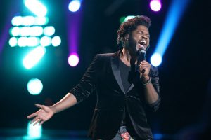 Davon Fleming performs his save song on The Voice Tuesday night. (NBC Photo)