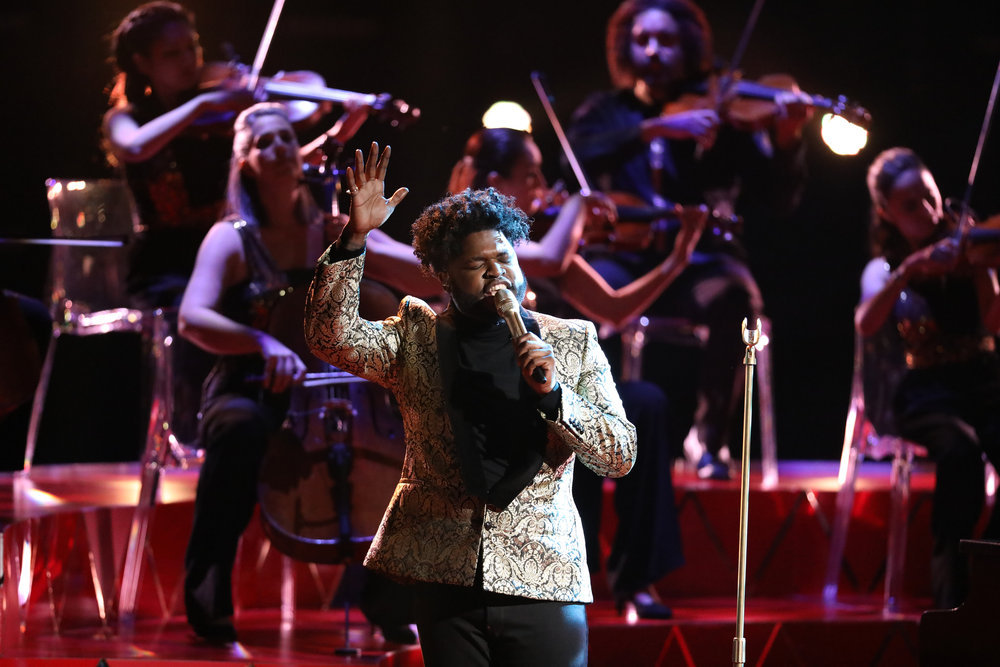 "Davon Fleming sings ""Hurt"" on The Voice Top 10 show Monday night. (NBC Photo)"